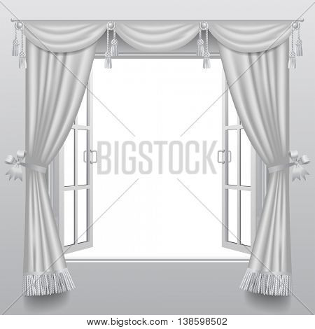 Open white double window with classic blinds. 3D illustration. Contains the Clipping Path