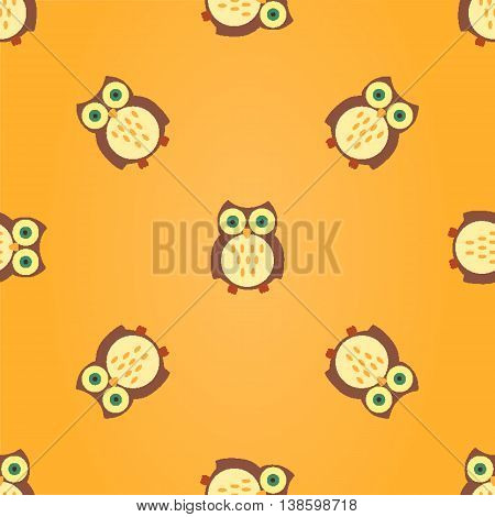 Seamless Vector Pattern with Sleepy Multicilored Owls in the Night Sky
