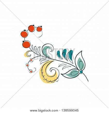 Vector Fantasy Currant in Russian ornamental style