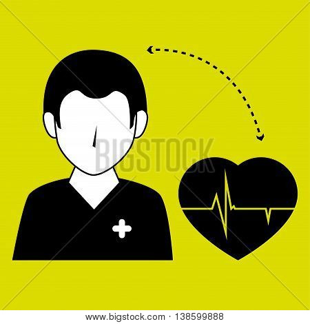 nurse man and cardiology isolated icon design, vector illustration  graphic