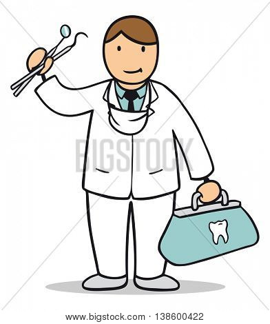 Cartoon man as dentist with tools and suitcase