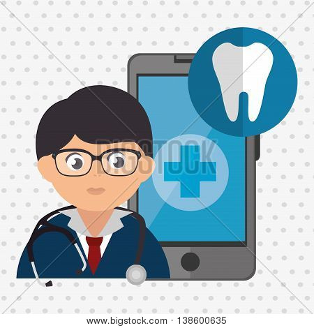 doctor cellphone and tooth isolated icon design, vector illustration  graphic