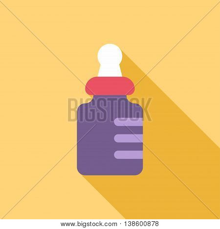 Baby bottle. Colored flat vector illustration on yellow background with a shadow. Care milk feeding. Violet and red.