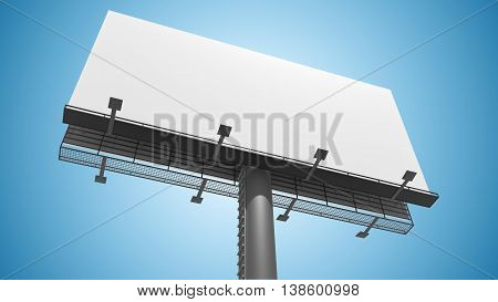 Blank White Billboard On Blue Background. 3D Rendered Illustrati
