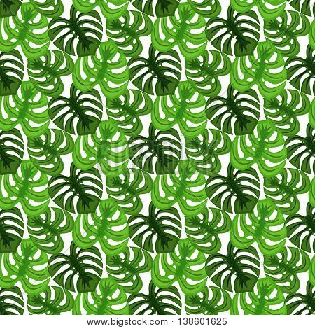 Monstera tropic plant leaves green dense foliage seamless pattern. Exotic nature pattern for fabric, wallpaper or apparel.