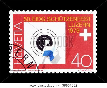 SWITZERLAND - CIRCA 1979 : Cancelled postage stamp printed by Switzerland, that promotes 50th Federal Riflemen Festival in Lucerne.