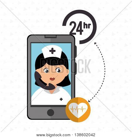 nurse 24-hour health cardiology isolated icon design, vector illustration  graphic