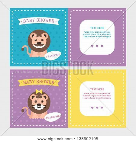 Baby shower invitation card templates for baby boy and girl with cute little lion. Pecked line frame. Violet two sides. Colored flat vector illustartion.