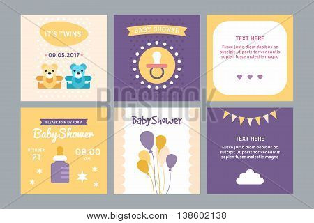 A set of templates for baby shower invitation and post card. Boy girl twins air baloons milk bottle teddies. Colored flat vector illustration.