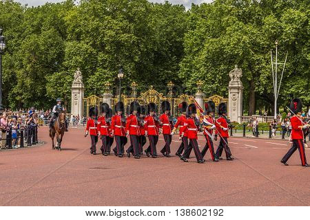 LONDON UK - 28TH JUNE 2016: Soldiers at the Changing of the Guard Performance at Buckingham Palace in the summer.