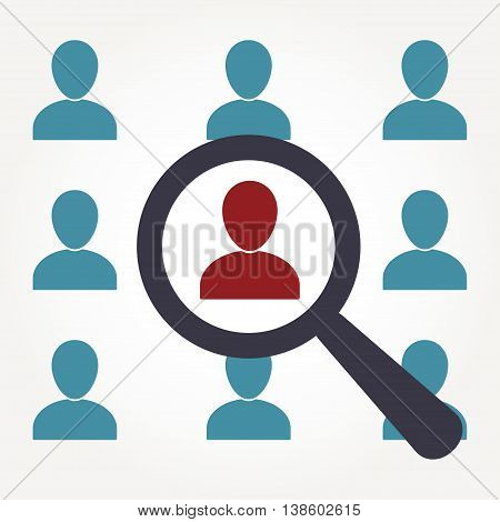 Human resources and recruitment symbol. Magnifying glass and man silhouette icon. Vector illustration.