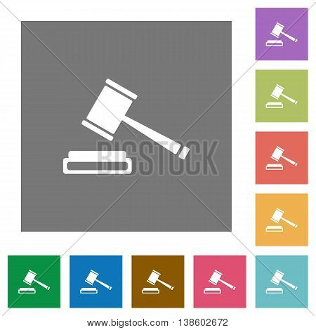 Auction hammer flat icon set on color square background.