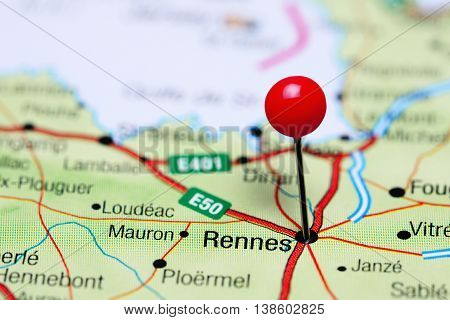 Rennes pinned on a map of France