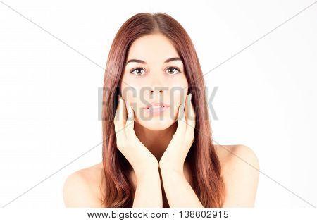 Beautiful sensual woman touching cheek. Beauty woman.