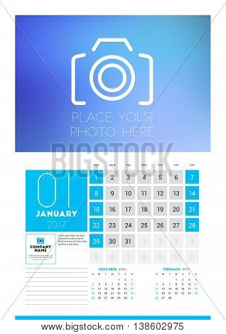 Wall Calendar Planner Print Template For 2017 Year. January 2017. Calendar Poster With Place For Pho