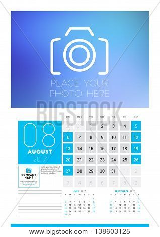Wall Calendar Planner Print Template For 2017 Year. August 2017. Calendar Poster With Place For Phot