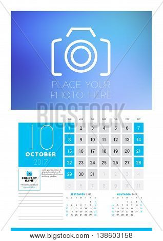 Wall Calendar Planner Print Template For 2017 Year. October 2017. Calendar Poster With Place For Pho