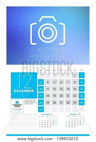 Wall Calendar Planner Print Template For 2017 Year. December 2017. Calendar Poster With Place For Ph