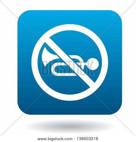 Sign no trumpet icon in simple style in blue square. Rules of the road symbol