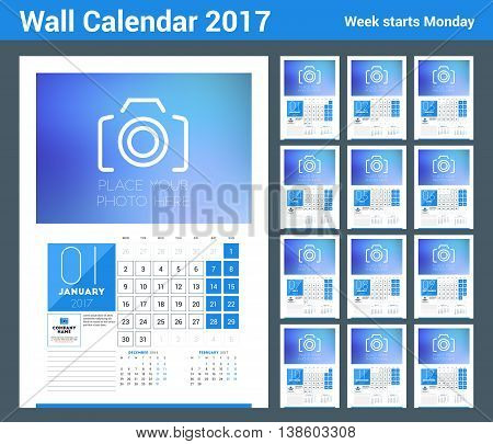 Wall calendar planner print template for 2017 year. Calendar poster with place for photo. 3 Months on page. Week starts Monday