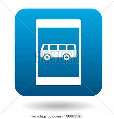 Sign bus stop icon in simple style in blue square. Rules of the road symbol