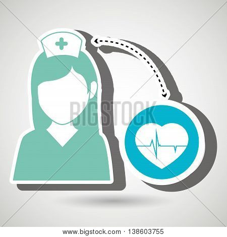 nurse and heart isolated icon design, vector illustration  graphic
