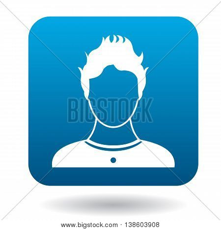 Avatar teen boy icon in simple style in blue square. People symbol