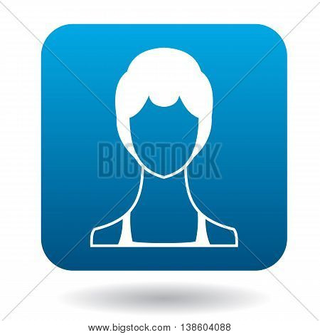 Avatar woman with short hair icon in simple style in blue square. People symbol