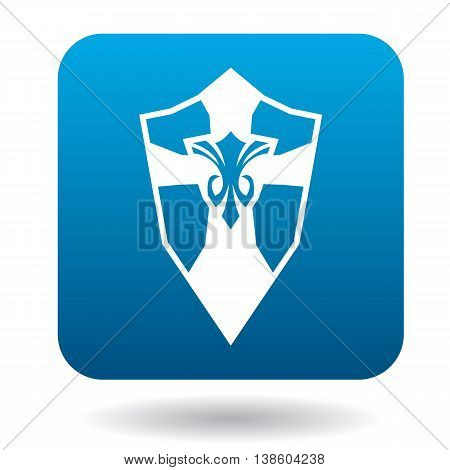 Shield with ornament icon in simple style in blue square. Weapon for combat symbol