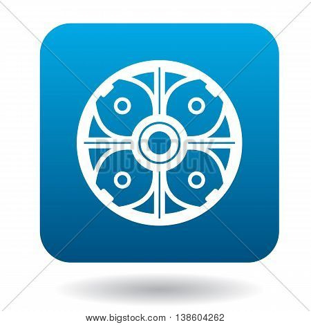 Round shield icon in simple style in blue square. Weapon for combat symbol
