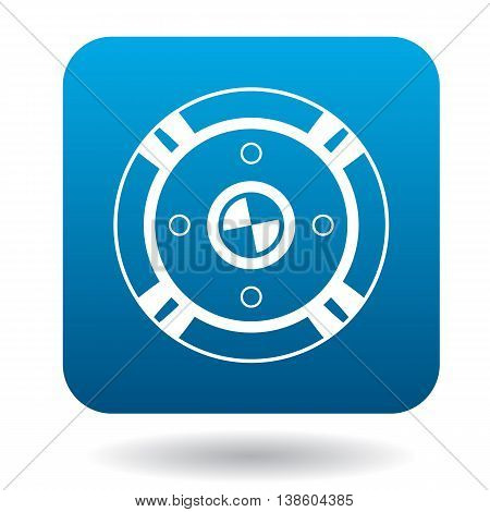 Round battle shield icon in simple style in blue square. Weapon for combat symbol