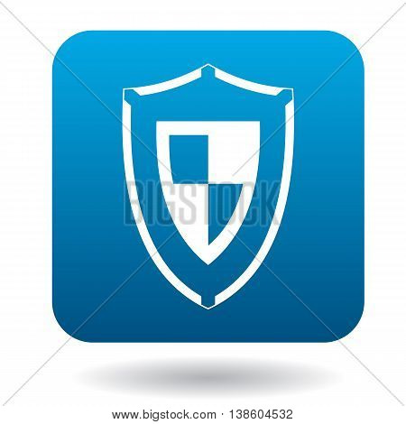 Combat shield icon in simple style in blue square. Weapon for war symbol