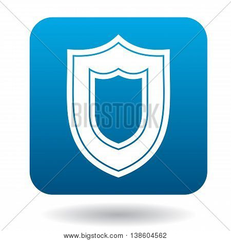 Large shield icon in simple style in blue square. Weapon for war symbol