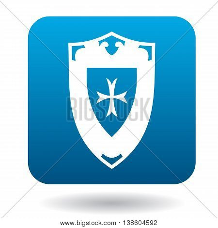 Battle shield with ornament icon in simple style in blue square. Weapon for war symbol