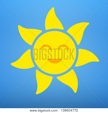 Smiling sun icon. Summer sun with a smile. Vector Graphics Flat smiling sun on a blue background.