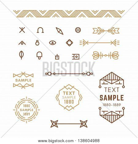 Set Of Line Art Decorative Geometric Vector Frames And Borders In Brown. Vector Ornaments, Vector De