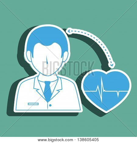 doctor with cardiology isolated icon design, vector illustration  graphic
