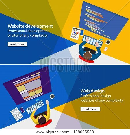 Banner development and design process programmer site. Flat website development and design process illustration. Programmer and designer top view html code on monitor. Material design color banners.