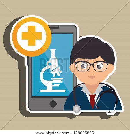 doctor cellphone and microscope isolated icon design, vector illustration  graphic