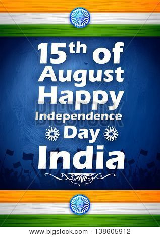 illustration of Indian citizen waving flag on tricolor flag background wishing Happy Independence Day of India