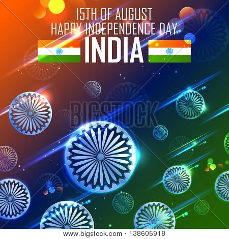 illustration of India background in tricolor and Ashoka Chakra for Happy Independence Day of Indian