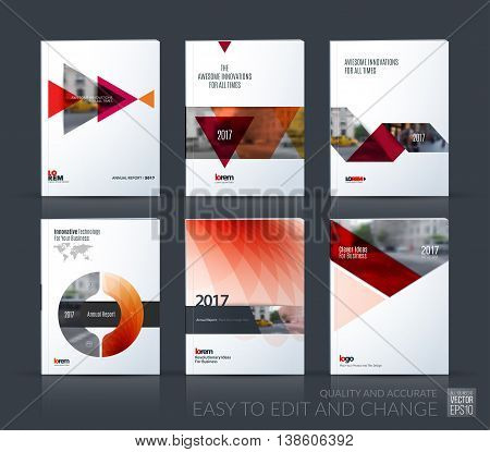 Brochure template layout, cover design annual report, magazine, flyer, leaflet in A4 with red triangle, arrow, circle with overlap effect for business and construction idea. Vector big mega set.