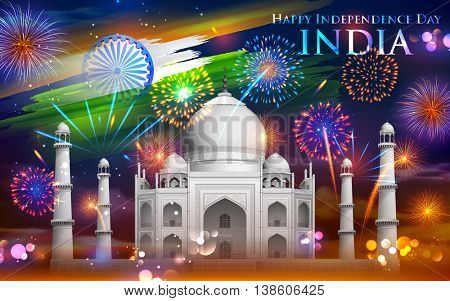 illustration of Taj Mahal with firework onTricolor India background for Independence Day