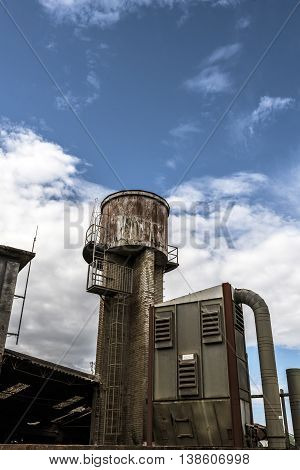 Old Factory outdoor details water tower, warehouse,