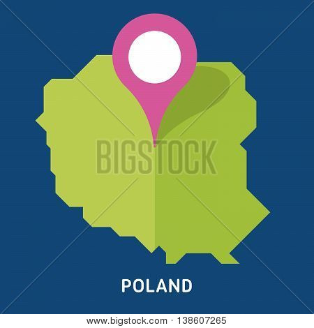 Map of Poland isolated on blue background. European country. Vector template for website, design, cover, infographics. Graph illustration.