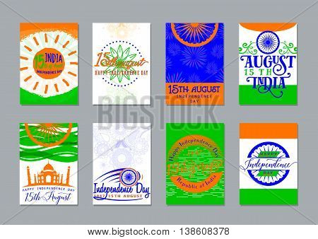 Vector illustration of Indian independence day backgrounds collection. Greeting India patriotism celebration patterns set with sun, Taj Mahal, typography, wheel, lettering.