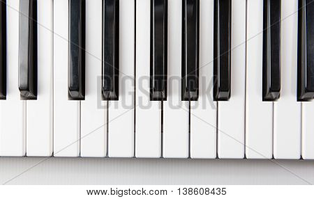 Close up of piano keys viewed from above