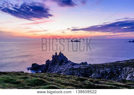 Amazing view after sunset in Cabaret-Sur-Mer,  Brittany, France