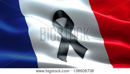 Pray For Paris, Nice, France, Waving France Country Flag Color Background With Black Ribbon