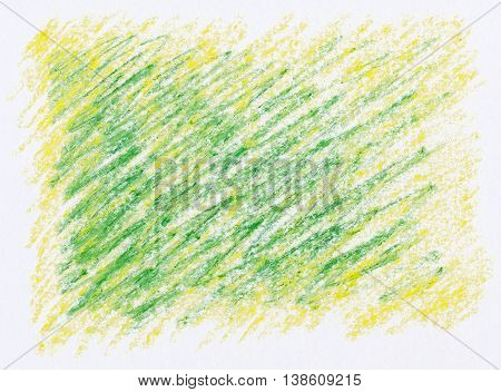 green crayon line drawing on yellow crayon background